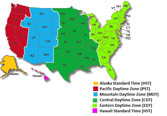 4 Different Time Zones United States states and Capitals map