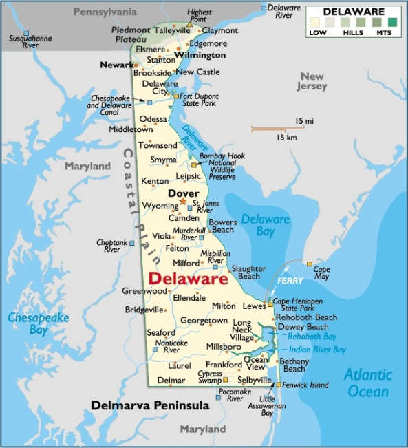 Map of Delware