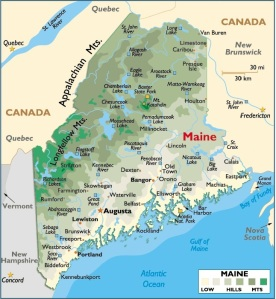 Map of Maine, USA