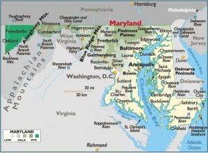 Map of Maryland, USA