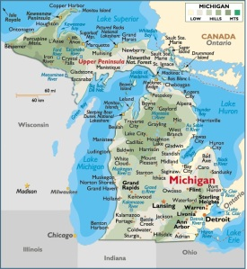 Map of Michigan, USA