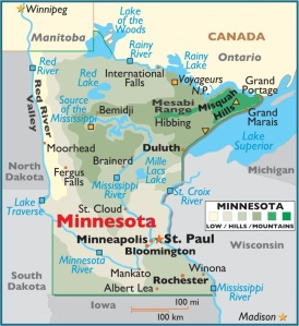 Map of Minnesota, USA