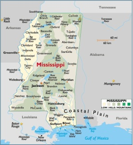 Map of Mississippi, USA