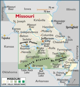 Map of Missouri, USA
