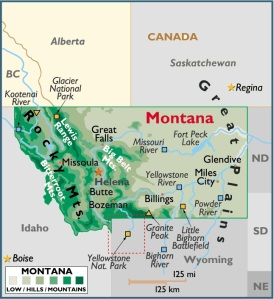 Map of Montana, USA