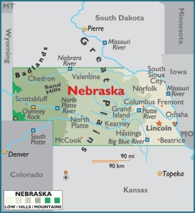 Map of Nebraska, USA