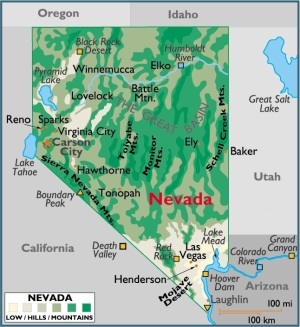 Map of Nevada, USA