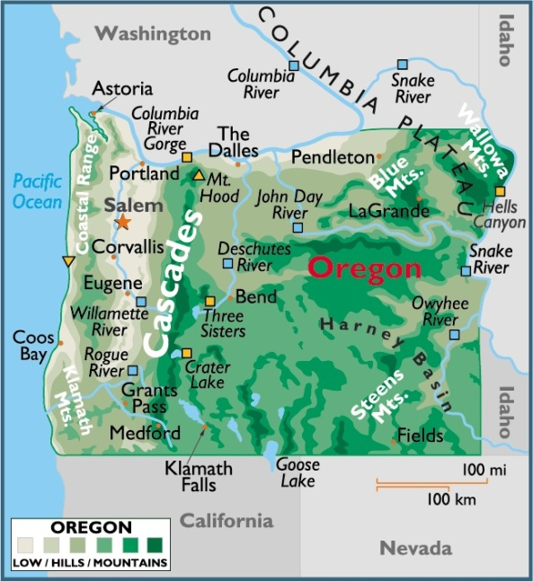 Map of Oregon, USA