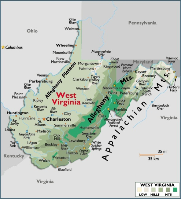 Map of West Virginia, USA