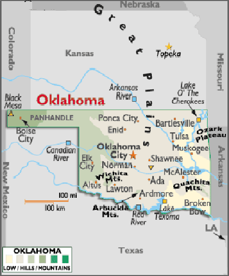 Map of Oklahoma, USA