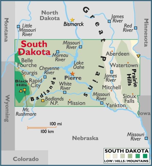 Map of South Dakota, USA