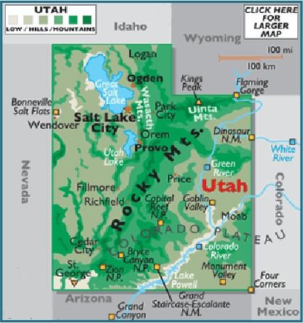 Map of Utah, USA
