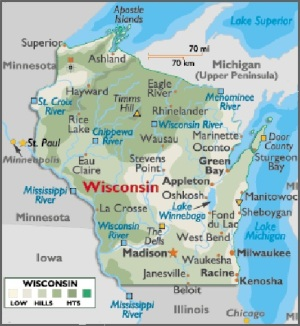 Map of Wisconsin, USA
