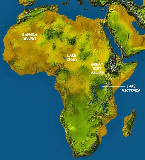 africa topographical map
