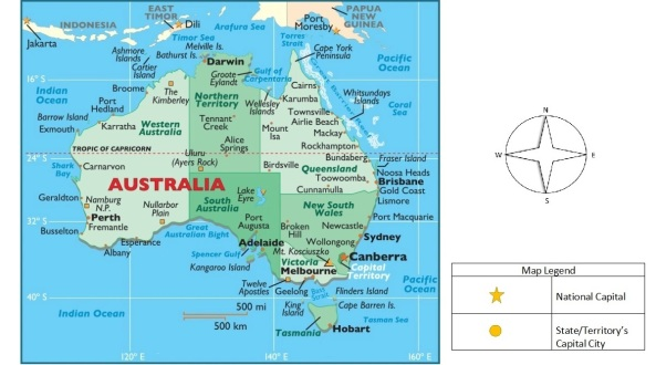 australia map with a compass