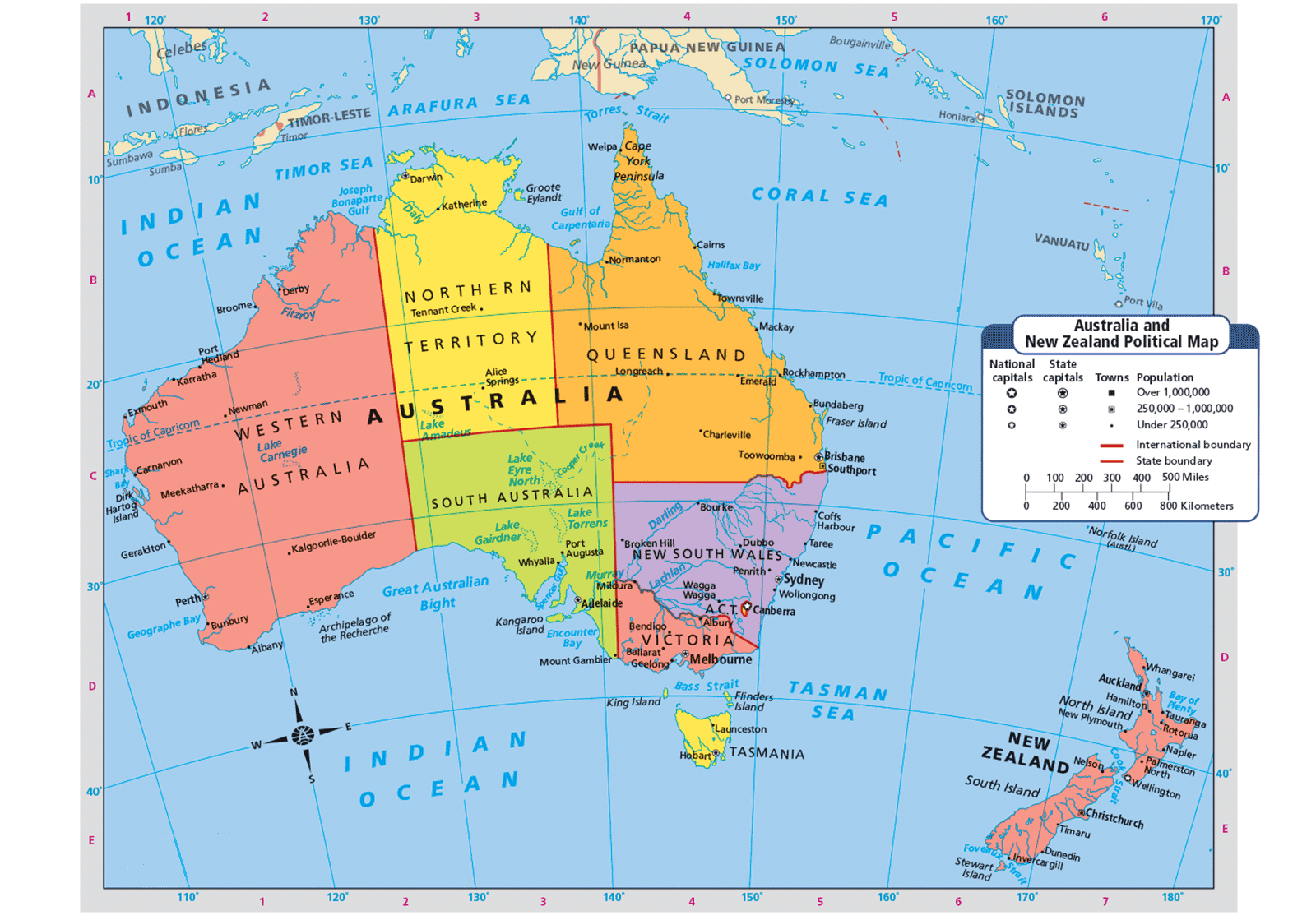 Map Of Australia And Tasmania.Map Of Australia And New Zealand Places And Things
